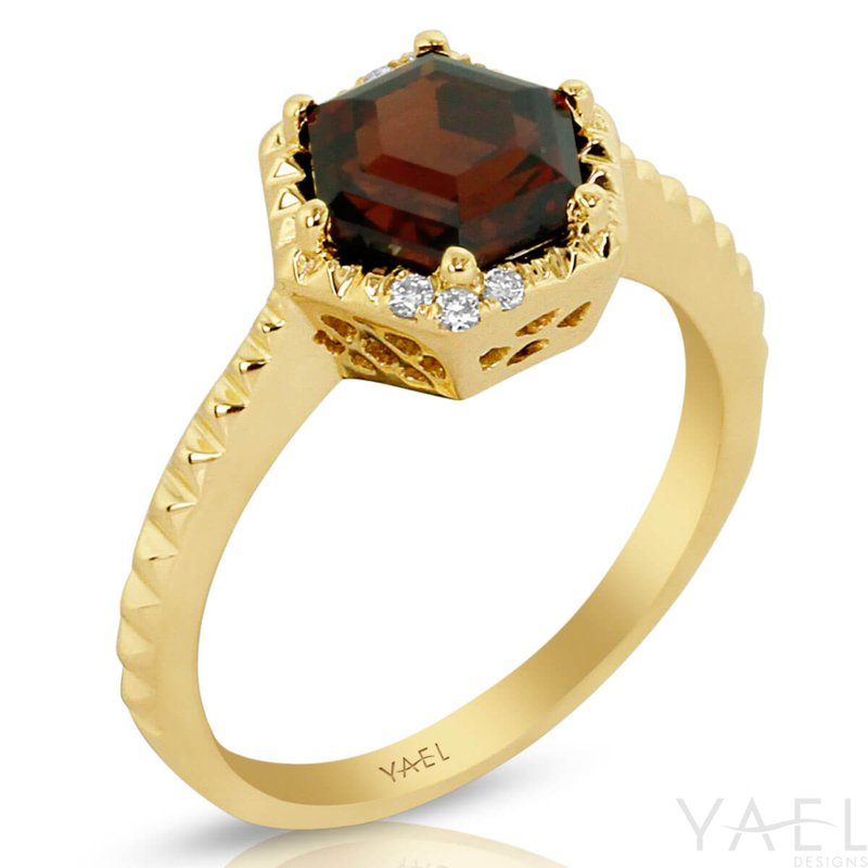 Yael Designs Garnet Hexagon Ring 14KY