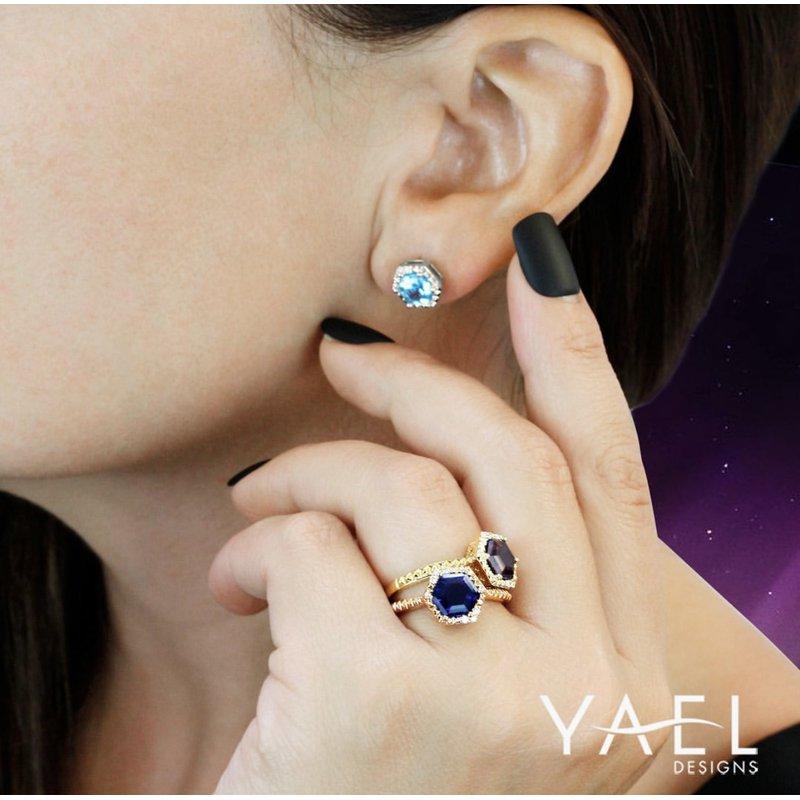 Yael Designs Garnet Hexagon Ring 14KY