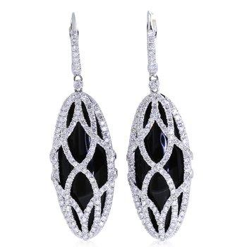 Onyx & Diamond Dangles 18KW