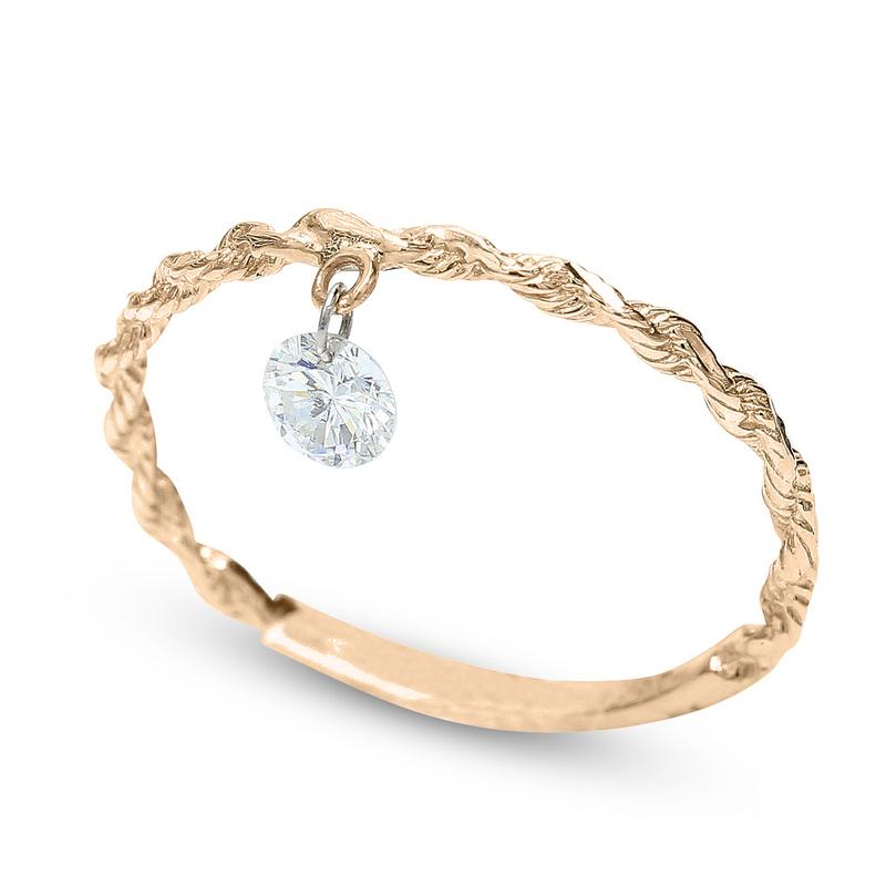 Gravity Pierced Diamond Ring .19 14KR