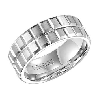 Double Row White Tungsten Engraved Wedding Band