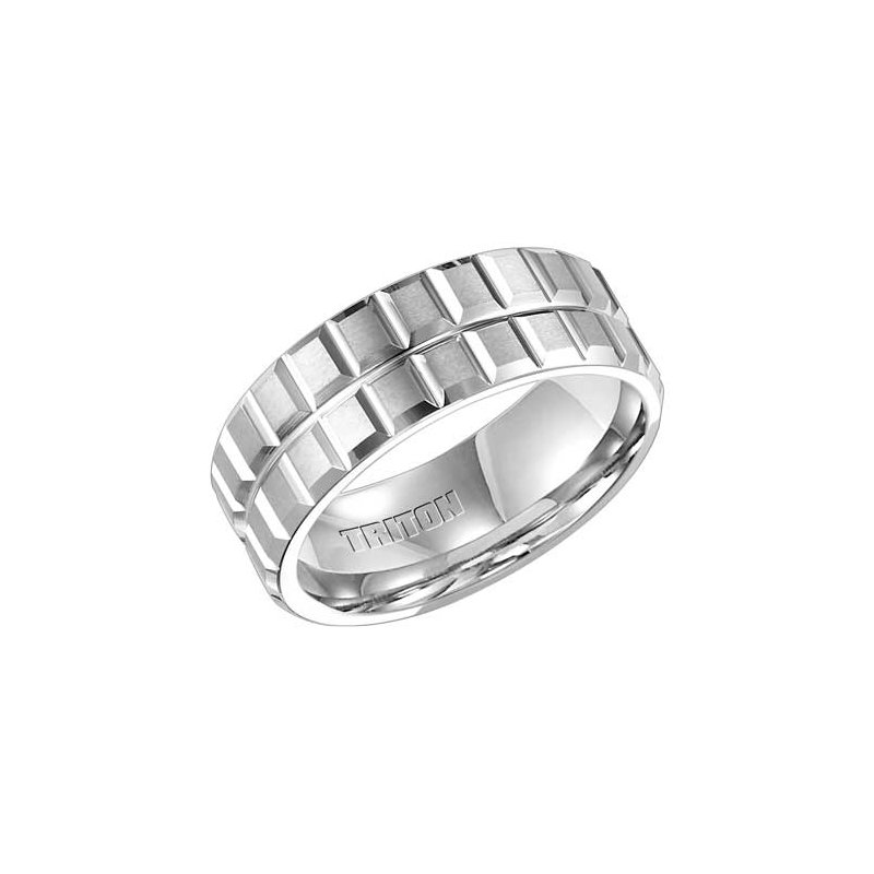 Frederick Goldman Double Row White Tungsten Engraved Wedding Band