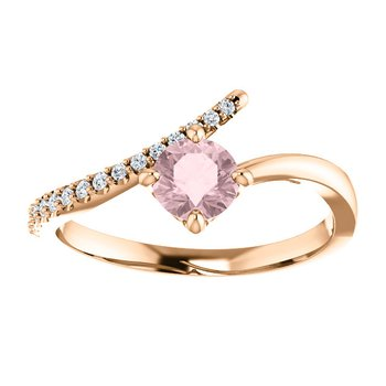 Morganite & Diamond Ring 14KR
