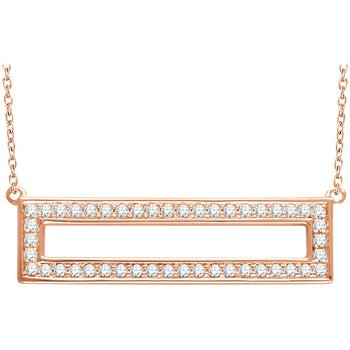 Open Rectangle Diamond Necklace 14KR