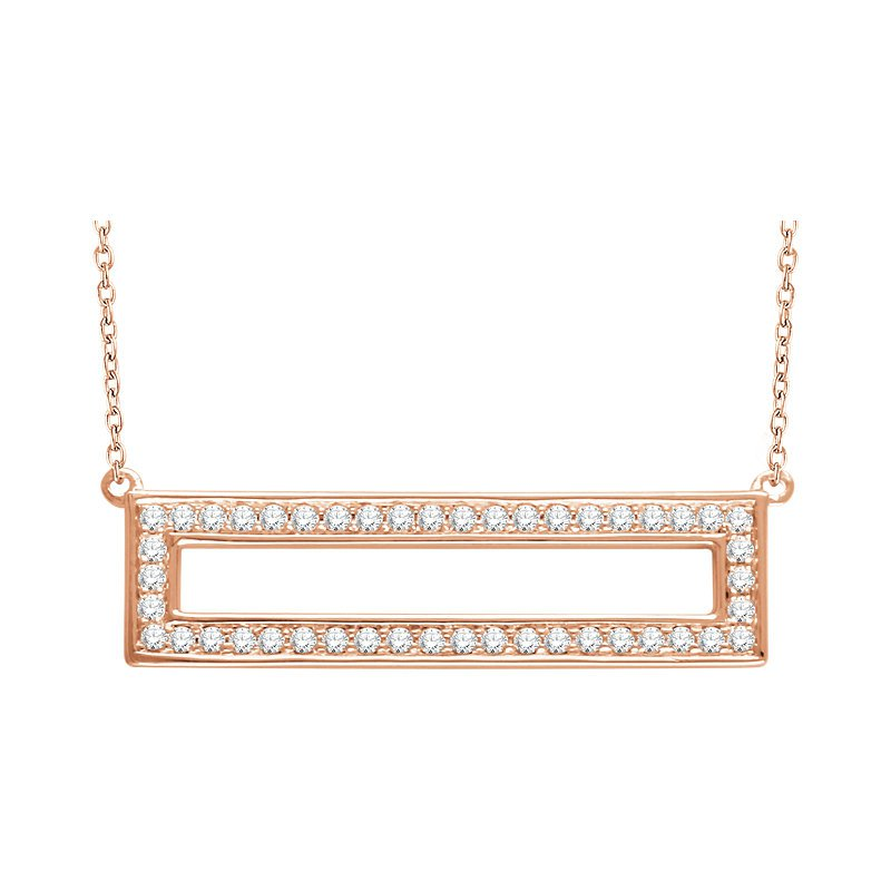 Gallery Designs Open Rectangle Diamond Necklace 14KR