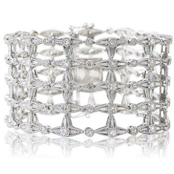 Open Work Diamond Bracelet 14KW