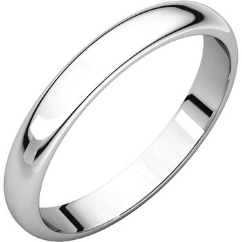 14K White 4mm Half Round Light Band