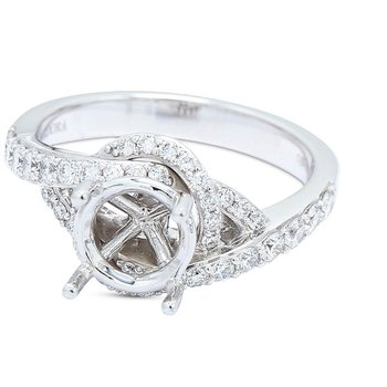 Swirl Diamond Engagement Setting 18KW