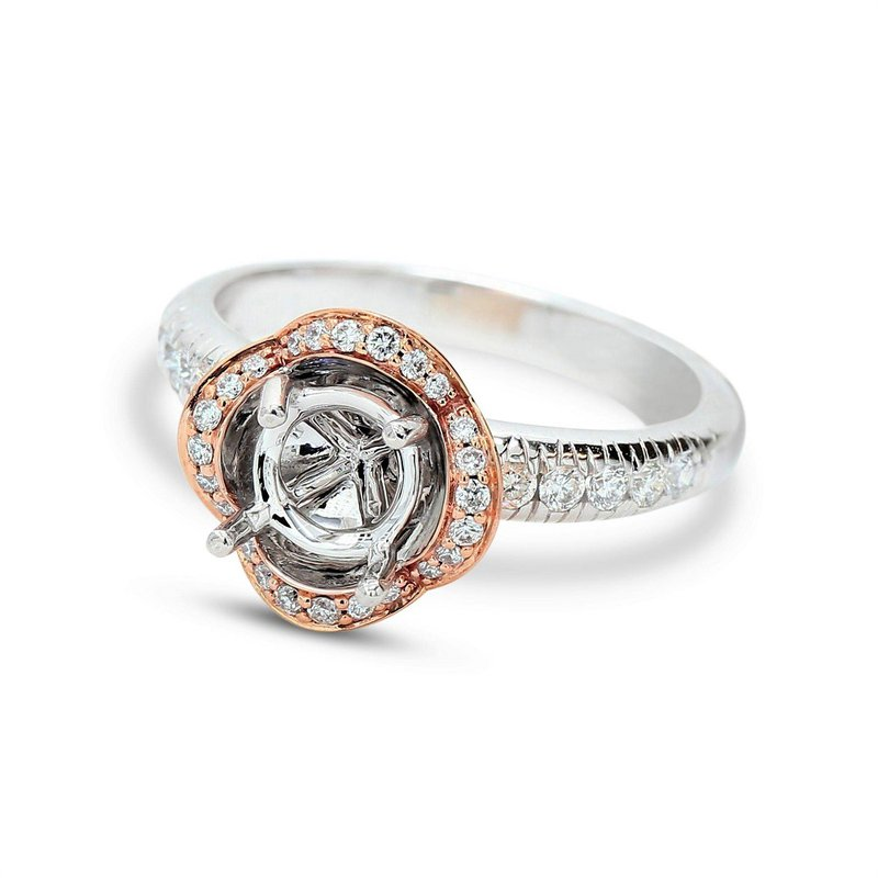 Isadora Floral Halo Ring 18K Setting Only