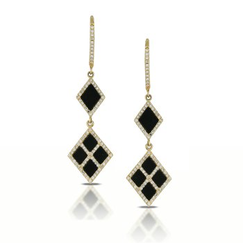 Gatsby Square Onyx & Diamond Dangles