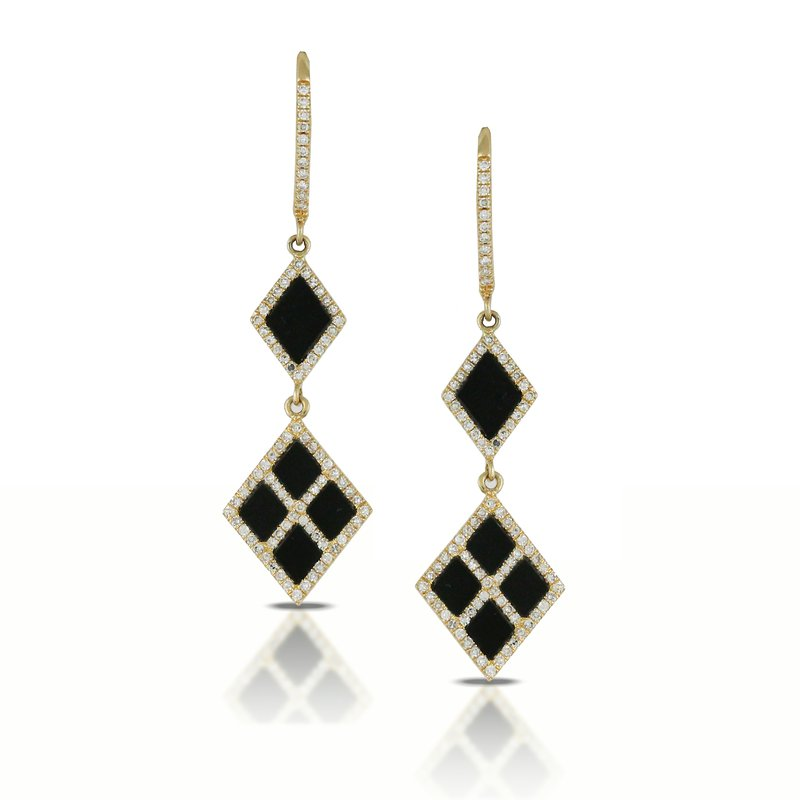 Doves Gatsby Square Onyx & Diamond Dangles