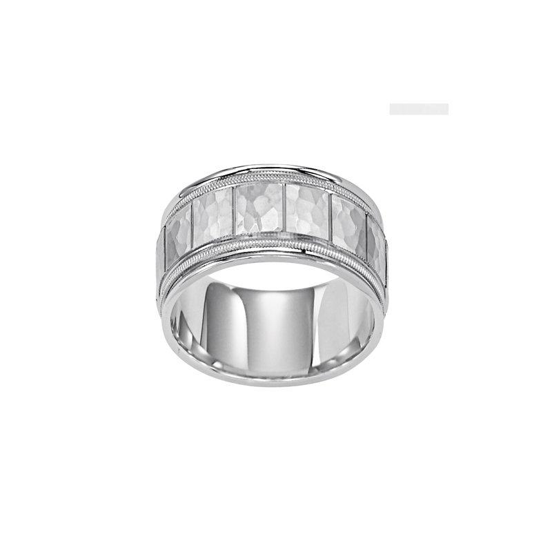 Frederick Goldman 14KW White Gold Hammered Comfort Fit Engraved Wedding Band