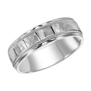 14KW White Gold Hammered Comfort Fit Engraved Wedding Band