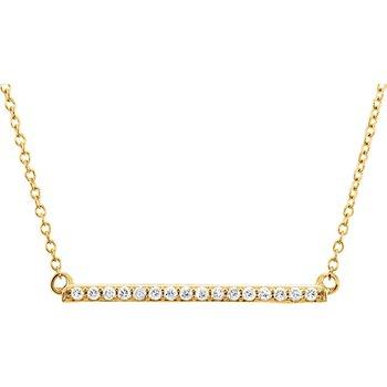 Diamond Bar Necklace 14KY