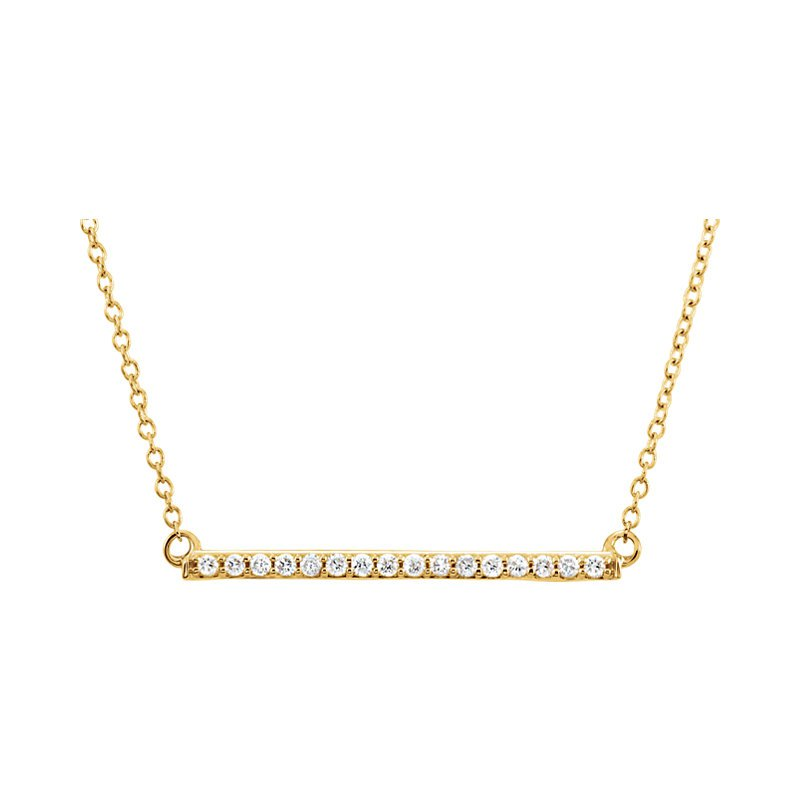 Gallery Designs Diamond Bar Necklace 14KY