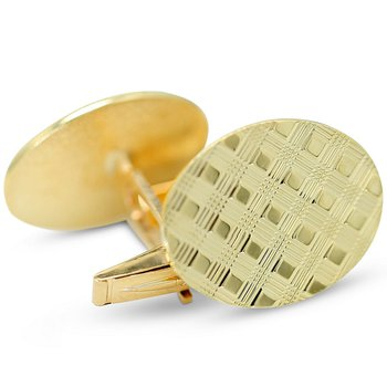 Oval Basket Weave Cuff Links 14KY