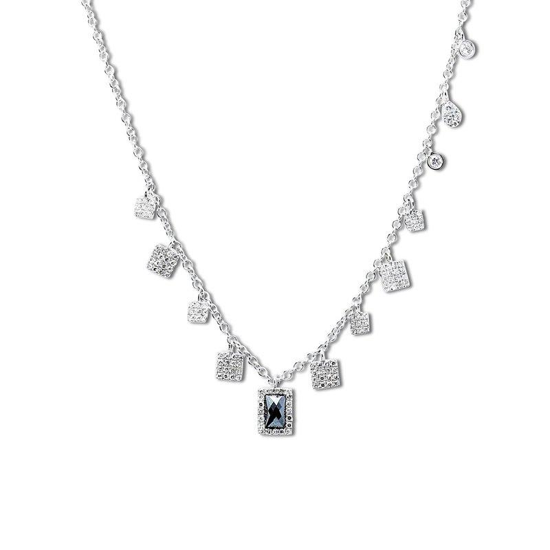 Meira T Hematite Charm Necklace 14KW
