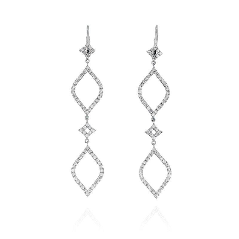Yael Designs Open Long Dangle Earrings 18KW