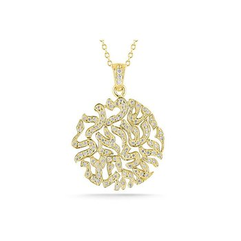 """14K-Y """"SHEMA"""" BLESSING PEND. 0.55CT"""