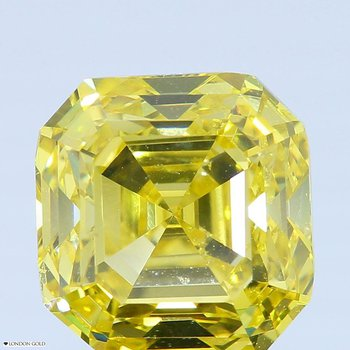 3.03 Sq. Emerald Color Treated Fancy Vivid Yellow SI2