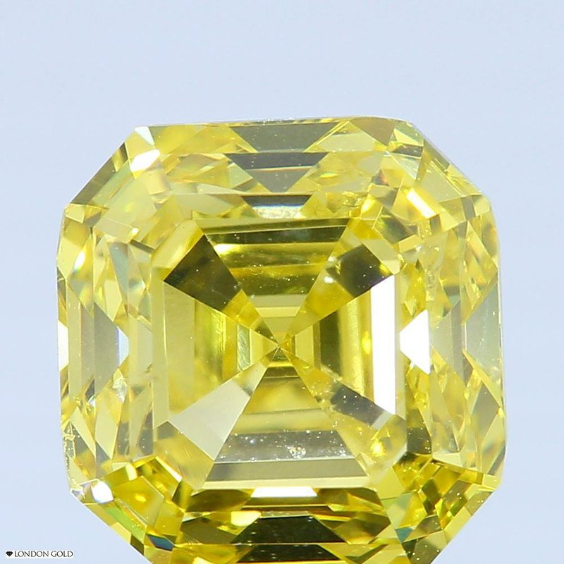 Colored Diamonds 3.03 Sq. Emerald Color Treated Fancy Vivid Yellow SI2