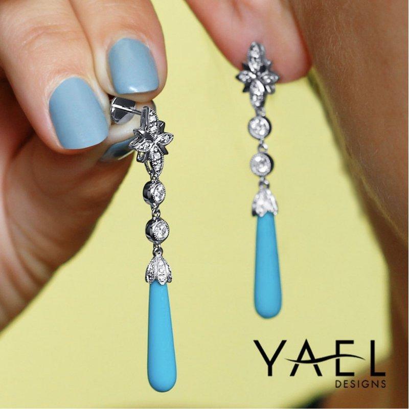 Yael Designs Turquoise & Diamond Dangles