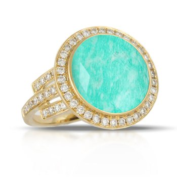 Diamond Halo & Amazonite Ring 18KY