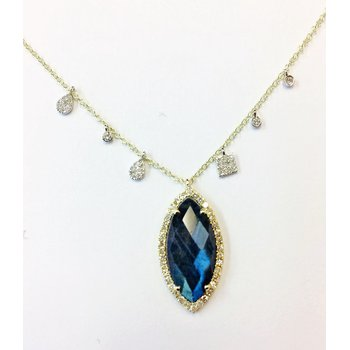 Labradorite & Diamond Halo Necklace