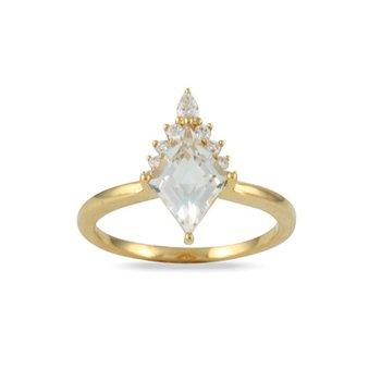White Topaz & Diamond Ring 18KY