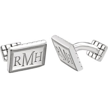 Monogram Cuff Links Sterling Silver