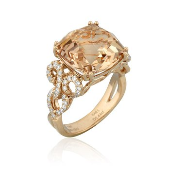 Sunrise Morganite & Diamond Ring 18KR