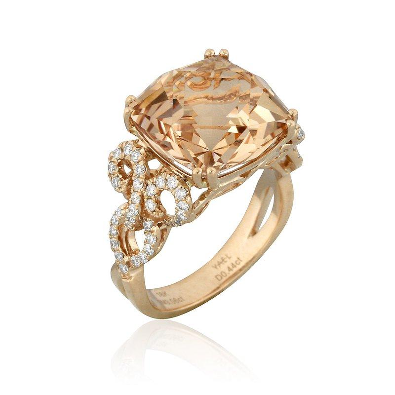 Yael Designs Sunrise Morganite & Diamond Ring 18KR