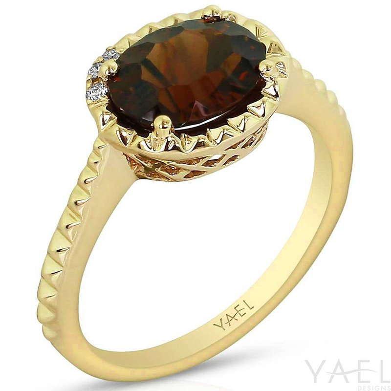 Yael Designs Oval Garnet Ring 14KY