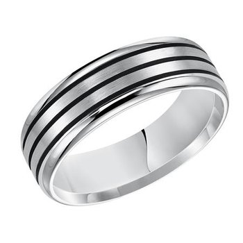 14KW White Gold Stripes Comfort Fit Engraved Wedding Band