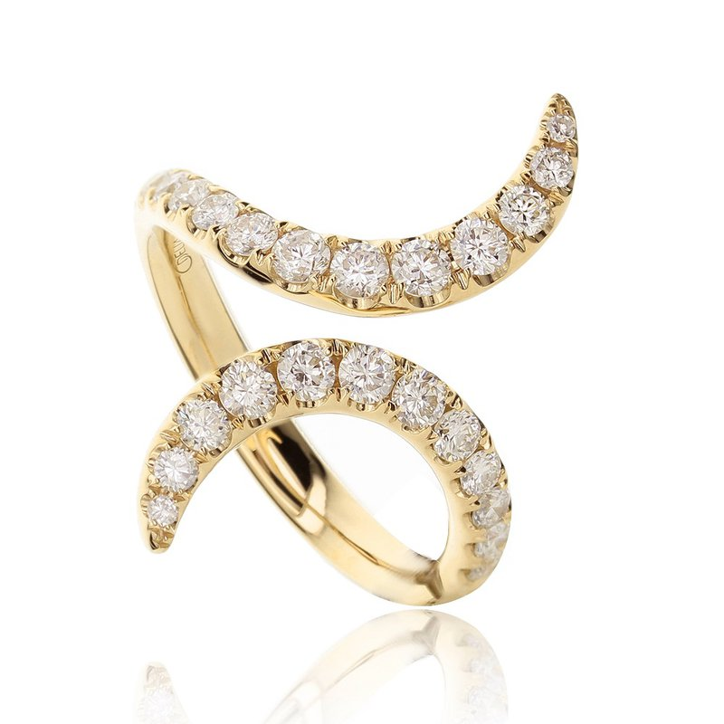 London Gold Designs Bypass Diamond Ring 18KY