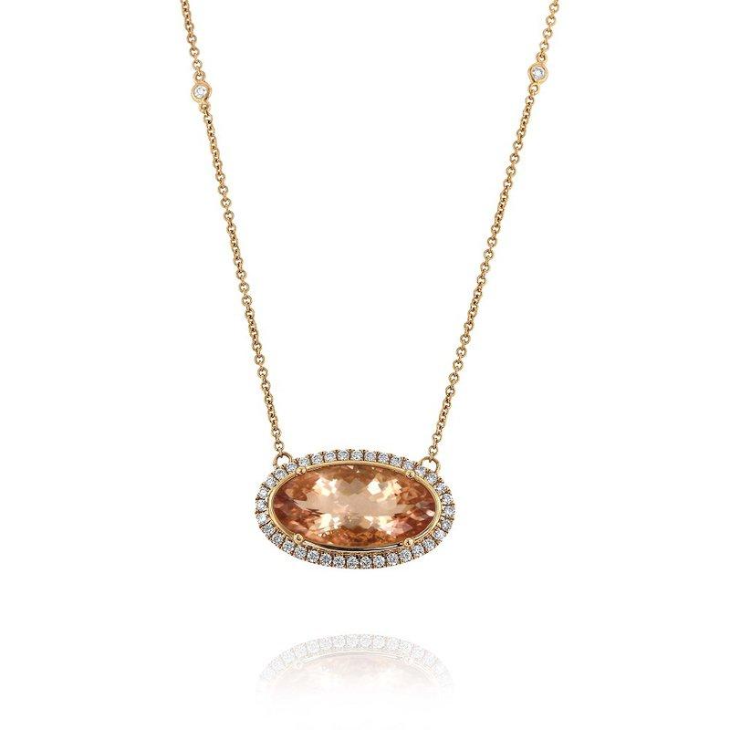 Yael Designs Morganite Halo Necklace 18KR