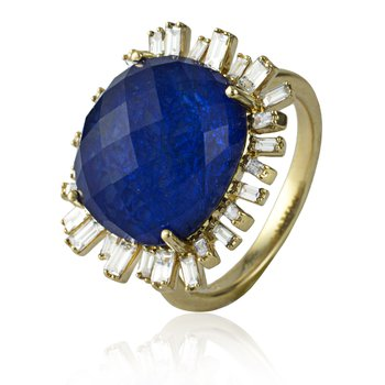 Halo Sapphire & Crystal Ring