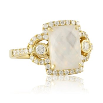 Diamond & Mother of Pearl Ring 18KY