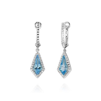 Kite Shape Blue Topaz Dangles