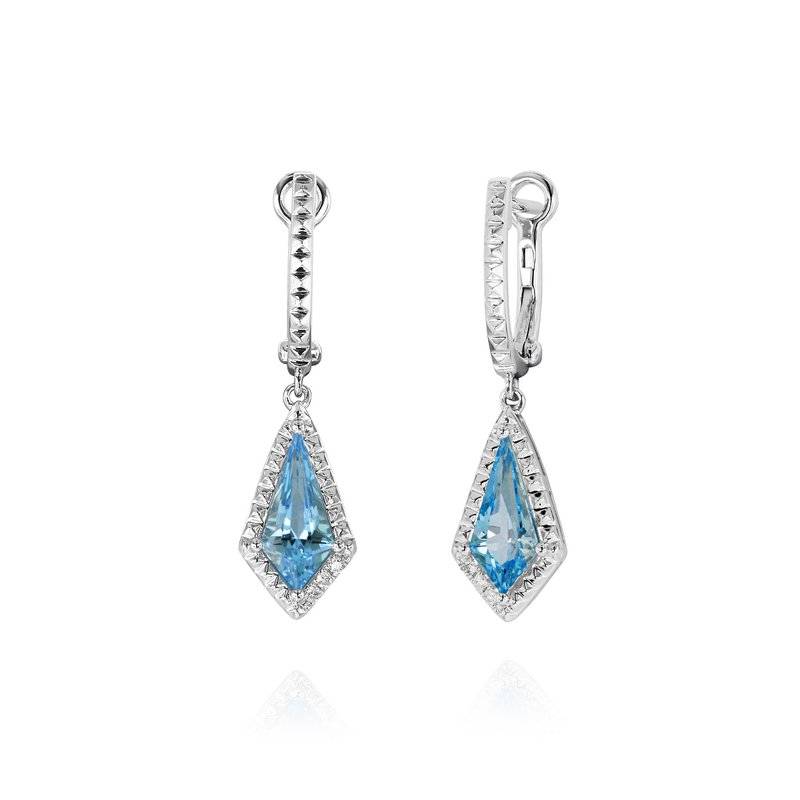 Yael Designs Kite Shape Blue Topaz Dangles