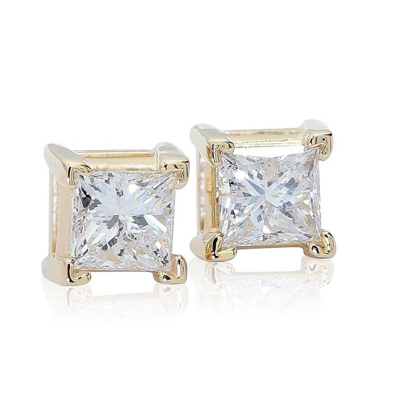 London Gold Designs .95cttw Princess Studs 14KY
