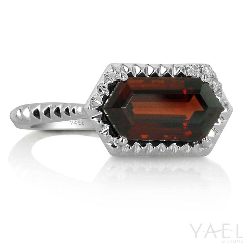 Yael Designs Long Hexagon Garnet Ring 14KW