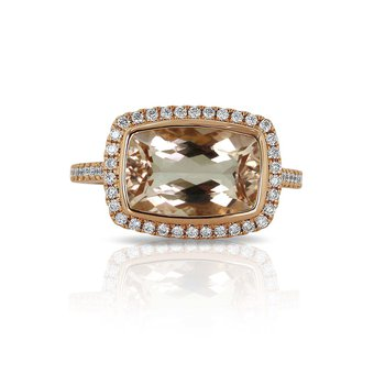 Morganite & Diamond Halo Ring 18KR