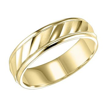 14KY Yellow Gold Engraved Wedding Band