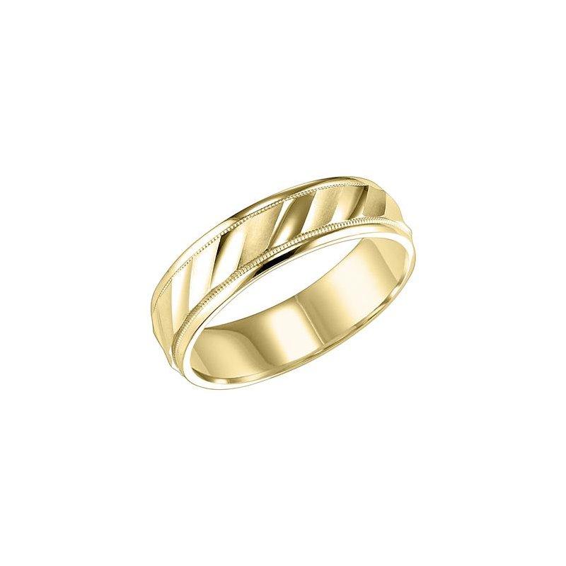 Frederick Goldman 14KY Yellow Gold Engraved Wedding Band