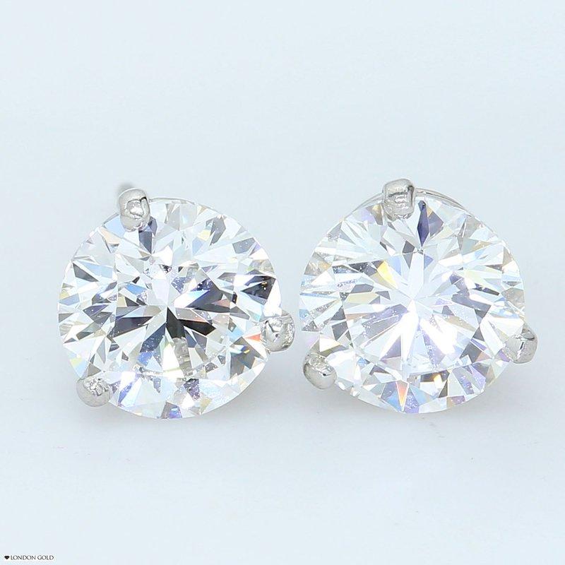 London Gold Designs 3.00ct Round Brilliant Diamond Studs