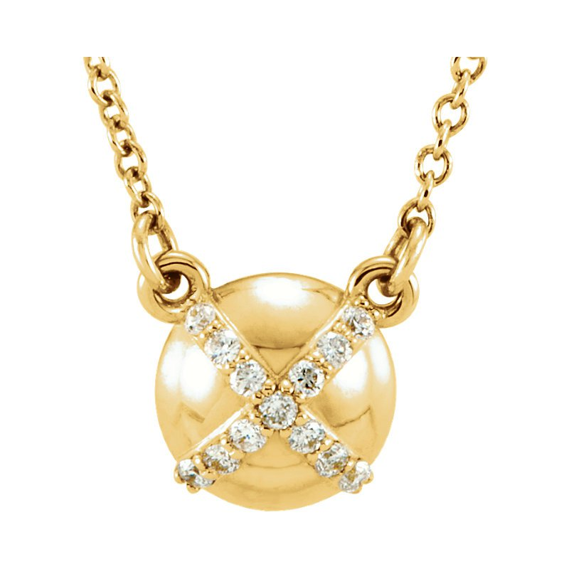 "Gallery Designs Dainty Diamond Set ""X"" Necklace 14KY"