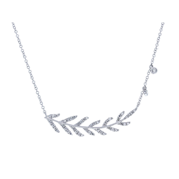 Pave Leaf Necklace 14KW