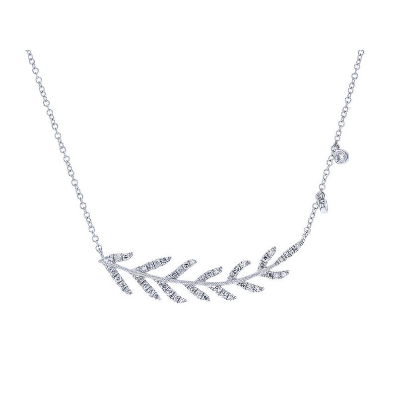 Meira T Pave Leaf Necklace 14KW
