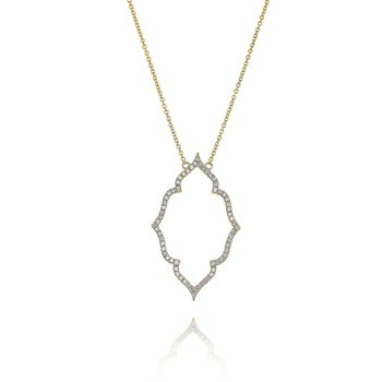 Open Quatrefoil Diamond Necklace 18KY